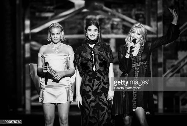 AnneMarie Hailee Steinfeld and Courtney Love present the Best Group award during The BRIT Awards 2020 at The O2 Arena on February 18 2020 in London...