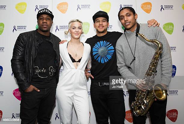AnneMarie Keso Dryden Dj Locksmith and Taurean Chagar attend 'An Evening of Rudimental with Suggs Friends' in aid of Pancreatic Cancer UK at Emirates...