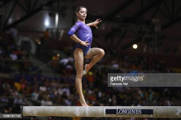 AnneMarie Padurariu of Canada competes in the Balance Beam during day ten of the 2018 FIG Artistic Gymnastics Championships at Aspire Dome on...