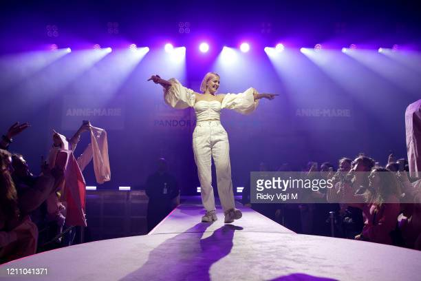 AnneMarie performs at International Women's Day with Pandora at the Charms for Change event at Exhibition London on March 07 2020 in London England