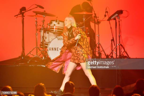 AnneMarie performs on stage at the 1Live Krone radio award at Jahrhunderthalle on December 6 2018 in Bochum Germany