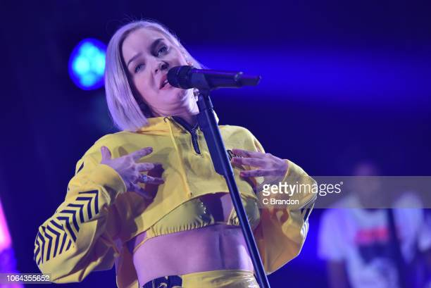 AnneMarie performs on stage at the Brixton Academy on November 22 2018 in London England
