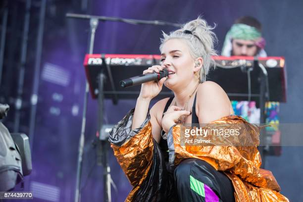AnneMarie performs on stage with British dance act Rudimental at Lollapalooza Berlin on September 10 2017 in Berlin Germany