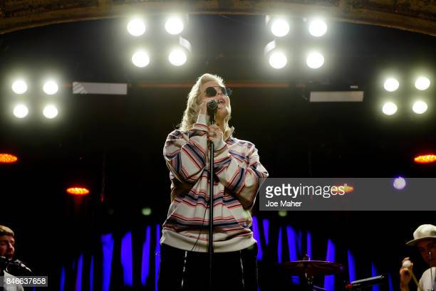AnneMarie rehearsing live on stage as part of Nordoff Robin's Get Loud awareness day at Omeara London on September 13 2017 in London England