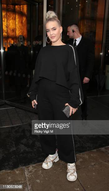 AnneMarie seen attending Christopher Kane catwalk show at 90 High Holborn during LFW February 2019 on February 18 2019 in London England