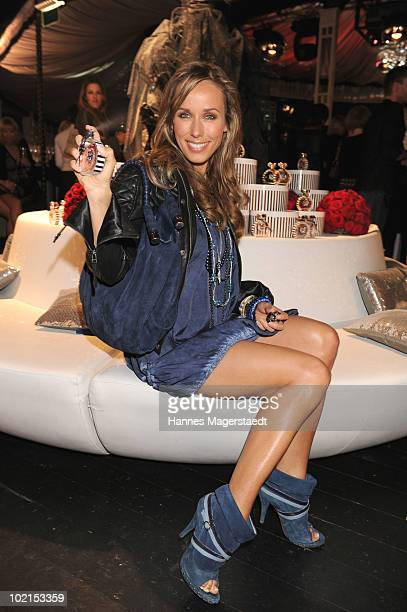 Annemarie Warnkross is testing the parfum 'Charm Rose' during the Thomas Sabo parfum launch party at the Spiegelsalon on June 16 2010 in Munich...