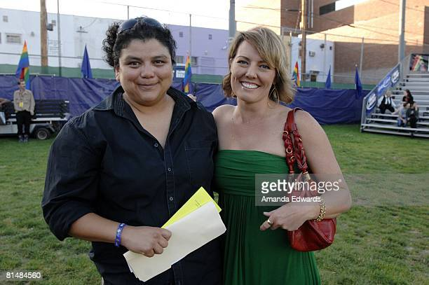 AnneMarie Williams and Ami Cusack attend the Los Angeles Gay Pride Dyke March on June 6 2008 in West Hollywood California