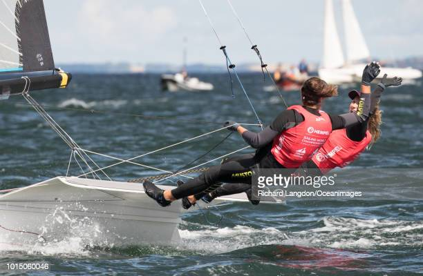 Annemiek Bekkering and Annette Duetz from the Dutch Olympic Sailing Team win Gold medal at the 2018 ISAF Sailing World Championships on August 11...