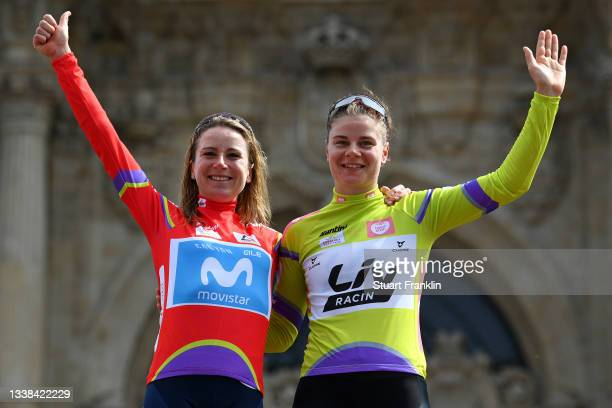 Annemiek Van Vleuten of Netherlands and Movistar Team red leader jersey and Lotte Kopecky of Belgium and Team Liv Racing green points jersey...