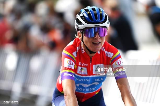 Annemiek Van Vleuten of Netherlands and Movistar Team red leader jersey crosses the finishing line during the 7th Ceratizit Challenge By La Vuelta...