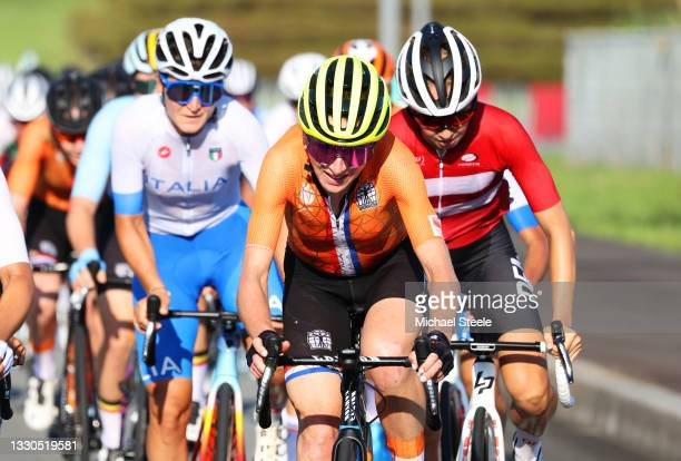 Annemiek van Vleuten of Team Netherlands & Cecilie Uttrup Ludwig of Team Denmark during the Women's road race on day two of the Tokyo 2020 Olympic...