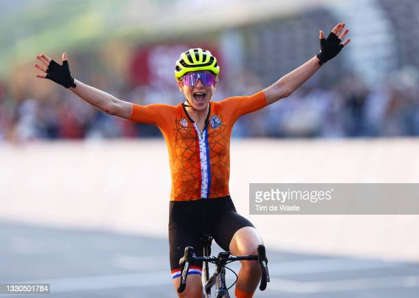 Annemiek van Vleuten of Team Netherlands celebrates winning the silver medal during the Women's road race on day two of the Tokyo 2020 Olympic Games...