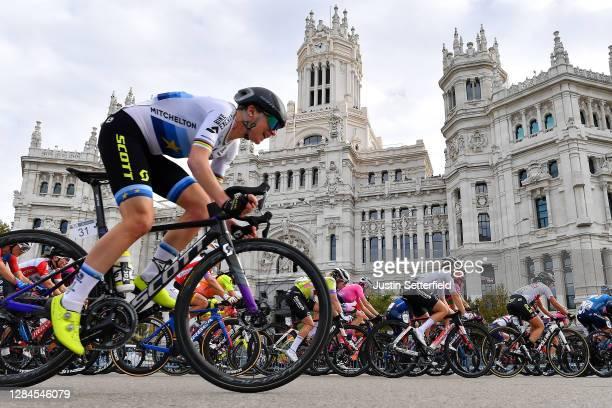 Annemiek Van Vleuten of The Netherlands and Team Mitchelton - Scott / Peloton / Madrid Town Hall / Plaza Cibeles / Madrid City / Landscape / during...