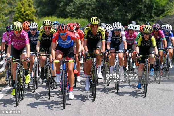 Annemiek Van Vleuten of The Netherlands and Team Mitchelton Scott UCI Leaders Jersey / Anna Plichta of Poland and Team Trek Segafredo / Lucy Kennedy...
