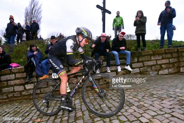 Annemiek Van Vleuten of The Netherlands and Team Mitchelton-SCOTT World Champion Jersey / Wall of Geraardsbergen / De Muur / Fans / Public /...