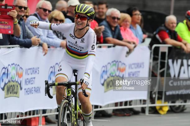 Annemiek Van Vluten MitcheltonScott celebrates winning the Women's 2018 Herald Sun Tour Prologue 16km Individual Time Trial on January 31 2018 in...