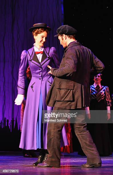 Annemieke Van Dam and David Boyd perform on stage during the Mary Poppins musical premiere at Ronacher Theater on October 1 2014 in Vienna Austria