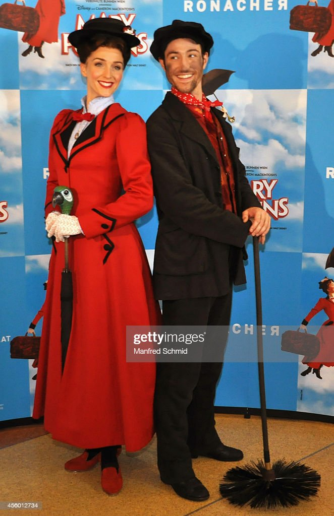 Annemieke Van Dam (L) and David Boyd pose for a photograph during the Mary Poppins Musical photo rehearsal at Ronacher theater on September 23, 2014 in Vienna, Austria.
