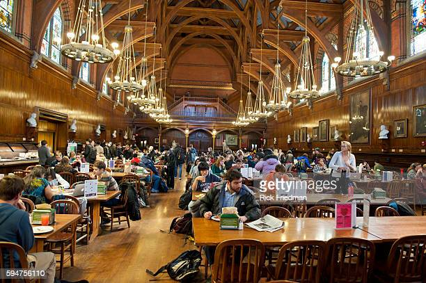 Annenberg Hall located in Memorial Hall at Harvard University in Cambridge MA is used as a first year student dining room The hall built in 1874 was...