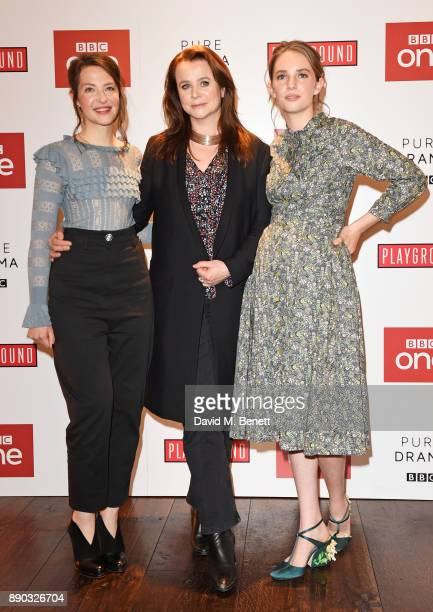 Annes Elwy Emily Watson and Maya ThurmanHawke attend a special screening of new BBC drama 'Little Women' at The Soho Hotel on December 11 2017 in...