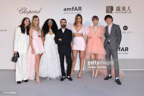 AnneSofie Johannson Chiara Ferragni HER Giambattista Valli Bianca Brandolini Chris Lee and Ross Lynch attend the amfAR Cannes Gala 2019 at Hotel du...