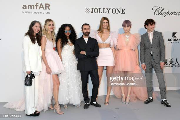 AnneSofie Johannson Chiara Ferragni HER Giambattista Valli Bianca Brandolini Chris Lee and Ross Lynch attend the amfAR Cannes Gala 2019 at Hotel du...