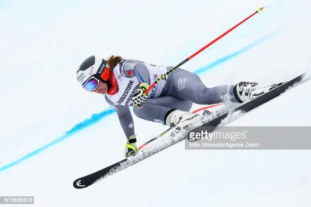 Annesophie Barthet of France competes during the Audi FIS Alpine Ski World Cup Women's Downhill Training on February 3 2018 in GarmischPartenkirchen...