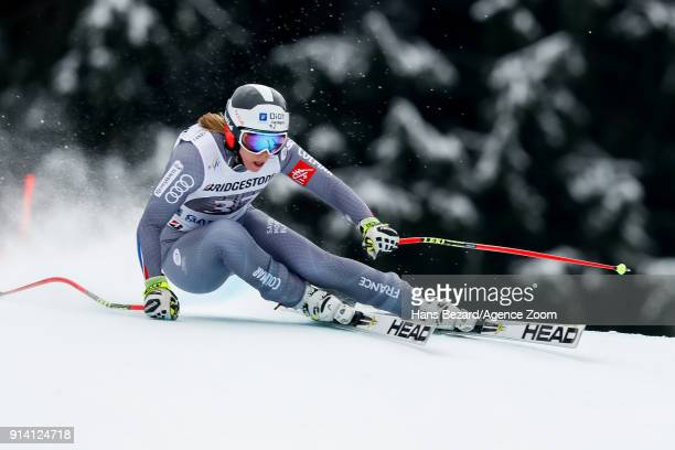 Annesophie Barthet of France competes during the Audi FIS Alpine Ski World Cup Women's Downhill on February 4 2018 in GarmischPartenkirchen Germany