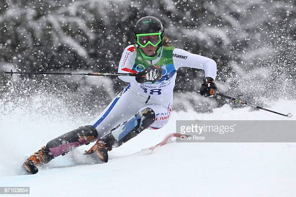 AnneSophie Barthet of France competes during the Ladies Slalom first run on day 15 of the Vancouver 2010 Winter Olympics at Whistler Creekside on...
