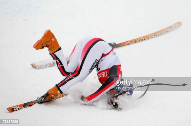 AnneSophie Barthet of France crashes and injures her right leg during the Women's FIS Alpine World Cup Downhill on Ruthie's Run on December 8 2007 in...