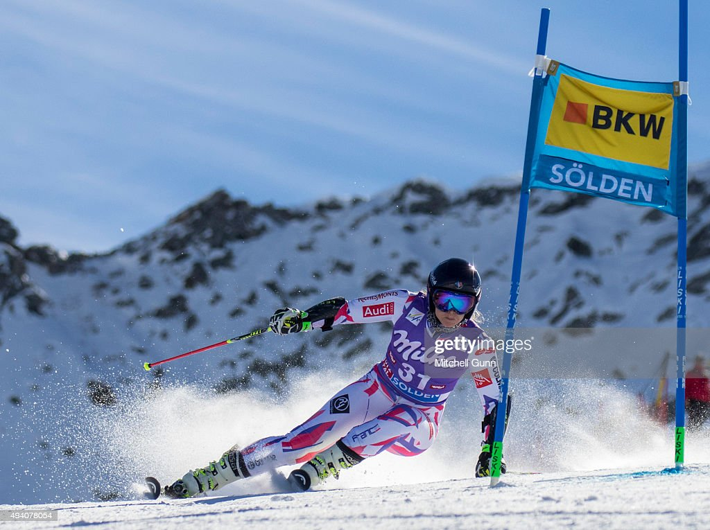 Anne-Sophie Barthet of France during the Audi FIS Ski World Cup women's giant slalom race on the Rettenbach Glacier on October 24, 2015 in Soelden, Austria.