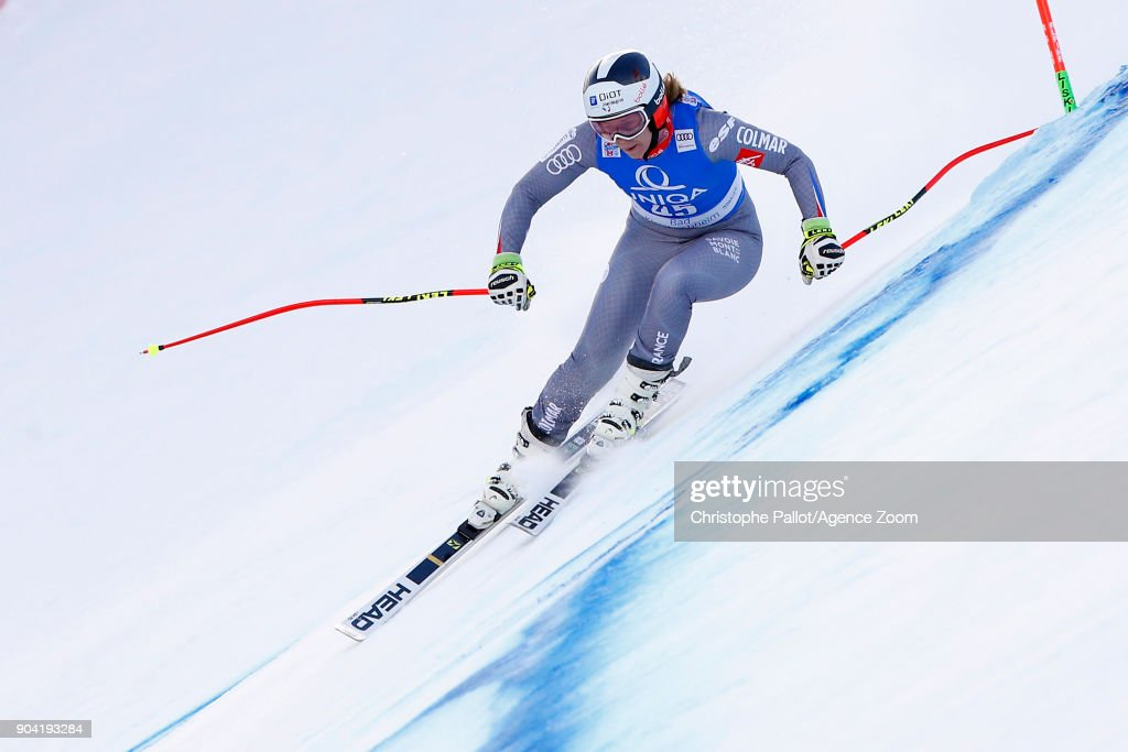 Anne-sophie Barthet of France in action during the Audi FIS Alpine Ski World Cup Women's Downhill Training on January 12, 2018 in Bad Kleinkirchheim, Austria.