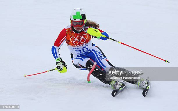 AnneSophie Barthet of France in action during the Women's Slalom during day 14 of the Sochi 2014 Winter Olympics at Rosa Khutor Alpine Center on...