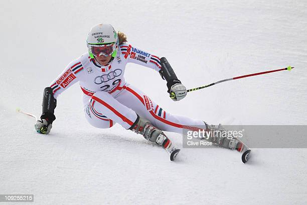 AnneSophie Barthet of France skis in the Women's Giant Slalom during the Alpine FIS Ski World Championships on the Kandahar course on February 17...