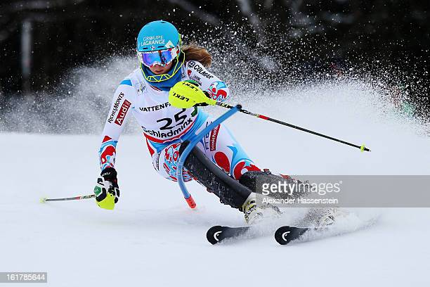 AnneSophie Barthet of France skis in the Women's Slalom during the Alpine FIS Ski World Championships on February 16 2013 in Schladming Austria