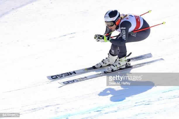 AnneSophie Barthet of France skis the course during the Audi FIS Ski World Cup 2017 Ladies' Downhill Training at the Jeongseon Alpine Centre on March...