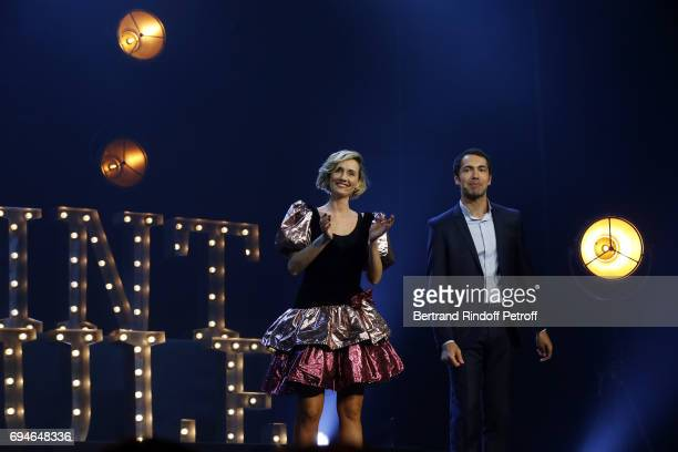 AnneSophie Girard and Ben perform during the 10th Anniversary of Le Point Virgule at L'Olympia on June 10 2017 in Paris France