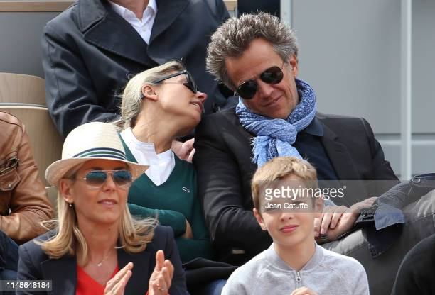 AnneSophie Lapix and husband Arthur Sadoun attend the women's final during day 14 of the 2019 French Open at Roland Garros stadium on June 8 2019 in...