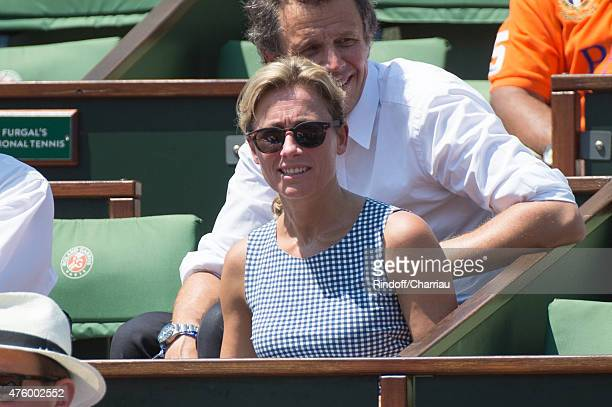 AnneSophie Lapix attends the French Open at Roland Garros on June 5 2015 in Paris France