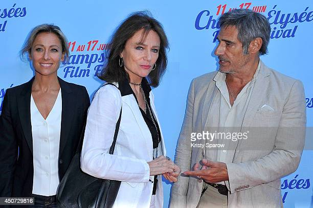 AnneSophie Lapix Jacqueline Bisset and Gerard Lanvin attend the Bon Retablissement Paris Premiere during Day 6 of the Champs Elysees Film Festival on...