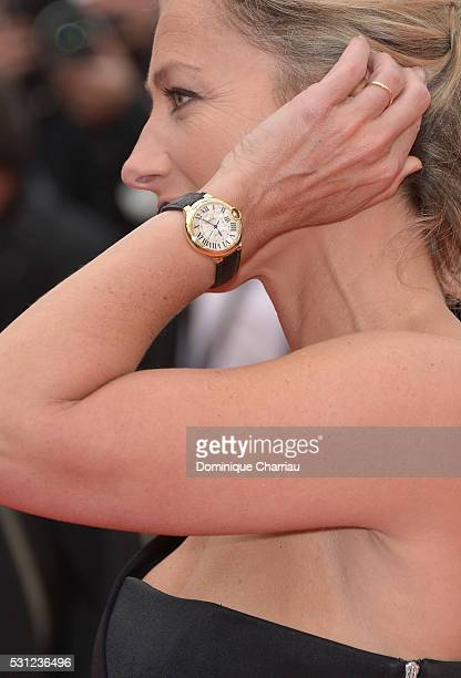 AnneSophie Lapix watch detail attends the 'Slack Bay ' premiere during the 69th annual Cannes Film Festival at the Palais des Festivals on May 13...