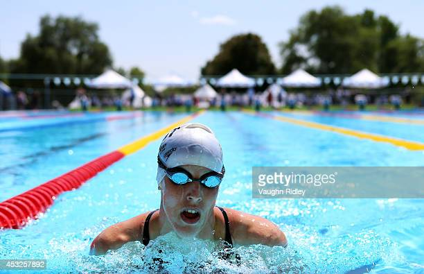AnneSophie Lepomme of Belgium competes in the Women's 200m Individual Medley at Parc JeanDrapeau during the 15th FINA World Masters Championships on...