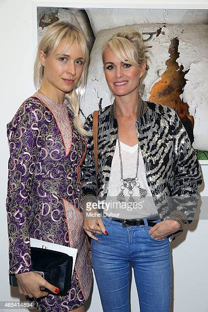 AnneSophie Mignaux and Laetitia Hallyday attend Art Exhibition at Galerie Perrotin as part of the Paris Fashion Week Womenswear Fall/Winter 2015/2016...
