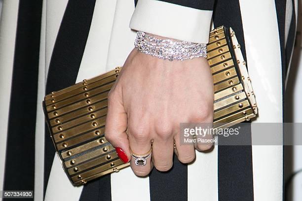 AnneSophie Mignaux bracelet detail attends the 'De Grisogono' La Boetie cocktail on January 28 2016 in Paris France