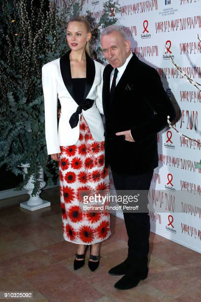 AnneSophie Monrad and Jean Paul Gaultier attend the 16th Sidaction as part of Paris Fashion Week on January 25 2018 in Paris France