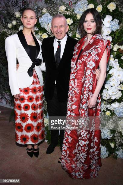 AnneSophie Monrad JeanPaul Gaultier and Coco Rocha attend the 16th Sidaction as part of Paris Fashion Week on January 25 2018 in Paris France