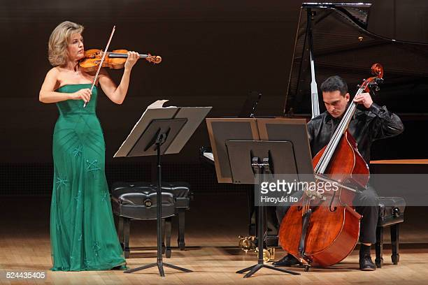 AnneSophie Mutter accompanied by Roman Patkolo on double bass performing Sebastian Currier's Ringtone Variations at Carnegie Hall on Tuesday night...