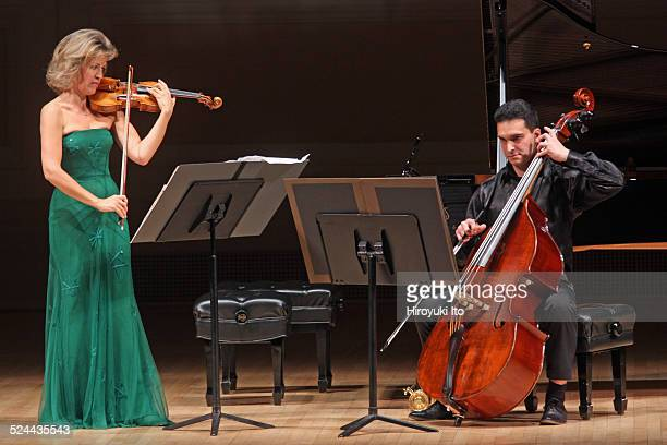 AnneSophie Mutter accompanied by Roman Patkolo on double bass performing Sebastian Currier's 'Ringtone Variations' at Carnegie Hall on Tuesday night...