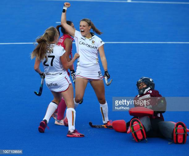AnneSophie of Belgium celebrates her goal during FIH Hockey Women's World Cup 2018 Day Seven match Pool D game 19 between Japan and Belgium at Lee...