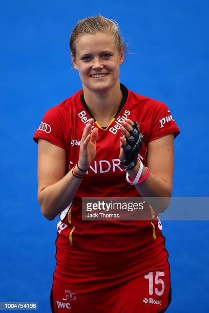 AnneSophie Weyns of Belgium applauds fans following the Pool D game between Australia and Belgium of the FIH Womens Hockey World Cup at Lee Valley...